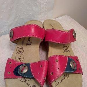 Romika New Women's Wedge/Sandal Blue/Pink Velcro S